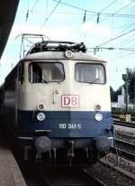 beige-blau/15714/110-341-5-in-mannheim-am-04081997 110 341-5 in Mannheim, am 04.08.1997, vom Dia.