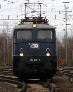 blau/81275/110-348-0-vom-db-museum-in 110 348-0 vom DB Museum in Koblenz Lützel bekommt bei der Lokparade ein bischen Auslauf. April 2010