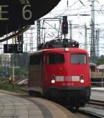 verkehrsrot/142126/110-491-8-faehrt-alleine-durch-den 110 491-8 fährt alleine durch den Bremer Hbf, vermutlich als wagenloser Regio Pbz über Hannover nach Braunschweig. August 2010