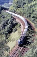 blau/89773/110-390-2-mit-einem-langen-d-zug 110 390-2 mit einem langen D-Zug auf der Geislinger Steige, am 21.08.1982.