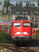 verkehrsrot/136862/110-493-4-kommt-zur-bereitstellung-von 110 493-4 kommt zur Bereitstellung von RE 11596 nach Aachen aus Düsseldorf Gerresheim. Juli 2010