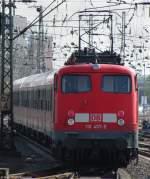 verkehrsrot/79819/110-457-9-schiebt-den-leerpark-der 110 457-9 schiebt den Leerpark der RB 68 in Münster aus dem Bahnhof zum BW. April 2010