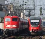 mit-zugen/182621/in-den-koelner-hbf-fahren-115 In den Kölner Hbf fahren 115 350-1 mit dem ICE Ersatzzug (IC 2863) von Bonn nach Hamm und die RB38 aus Düsseldorf parallel ein. Oktober 2010