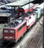 verkehrsrot/96273/140-668-5-vor-einem-messzug-mit 140 668-5 vor einem Messzug mit 752 001-8, SNCF 437 001 und einem französischen und deutschen Messwagen, in Ulm am 17.06.2003.